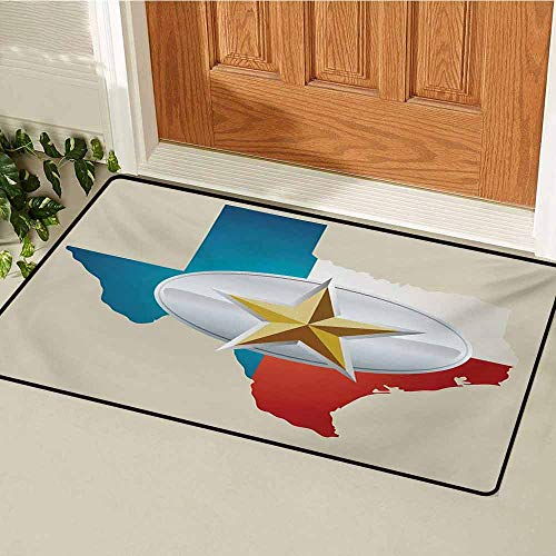 GUUVOR Texas Star Welcome Door mat Cowboy Belt Buckle Star Design with Texas Map Southwestern Parts of America Door mat is odorless and Durable W29.5 x L39.4 Inch Multicolor