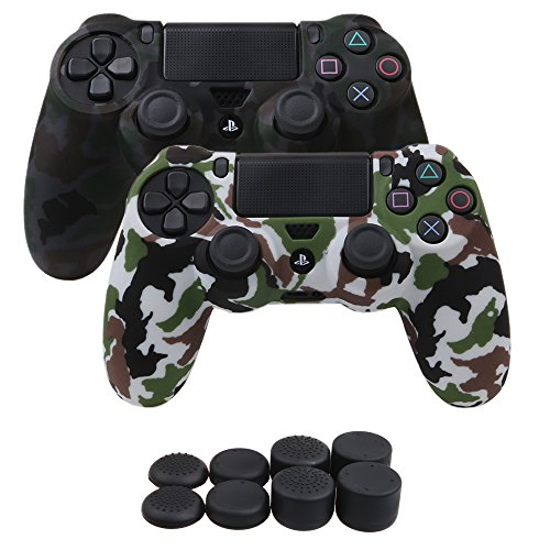 YoRHa Water Transfer Printing Camouflage Silicone Cover Skin Case for Sony PS4/slim/Pro controller x 2(grey+white) With Pro thumb grips x 8
