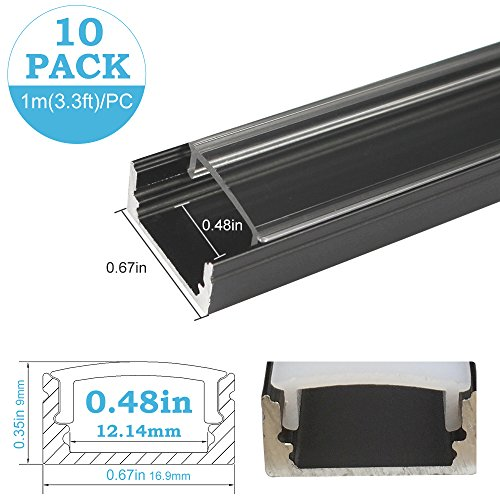 inShareplus 10Pack 3.3ft/1m LED Aluminum Channel Profile, Aluminum Extrusion with Clear Cover U-Shape Surface Mount for 8mm 10mm Single Row 3528 5050 LED Strip Lights Installation