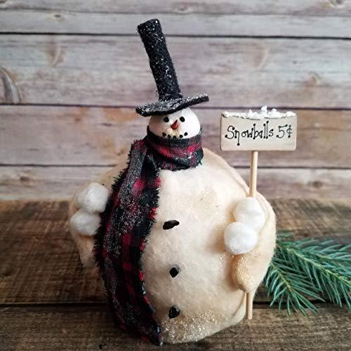 Folk Art Pattern Primitive Doll - Jack Frost Primitive Folk Art Christmas Winter Holiday Snowman Decor