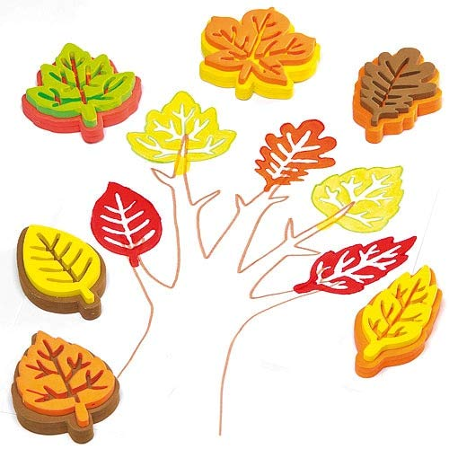 Baker Ross Kids Fall Leaf-Shaped Stampers   Thanksgiving Arts & Crafts Fun   Make Seasonal Artwork   Easy for Children to Hold   Thick Washable Foam   Pack of 10 Leaves