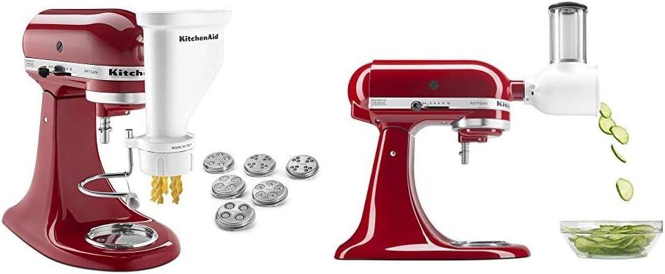 KitchenAid KSMPEXTA Gourmet Pasta Press Attachment with 6 Interchangeable Pasta Plates, White & Fresh Prep Slicer/Shredder Attachment, White