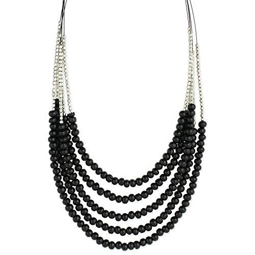 ZAD Multi-Strand Wooden & Silver Beaded Multi-Strand Graduating Layers Wire Necklace, 16 - 18