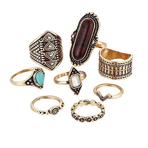 (ManxiVoo Bohemian Ring Set 8PCS Vintage Women's Boho Crystal Flower Joint Ring (Gold, One Size))