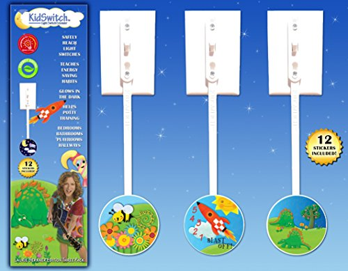 KidSwitch Lightswitch Extension for Toddlers - Laurie Berkner Edition - 3 count - Includes 12 Themed Art Decals - MULTI-AWARD -