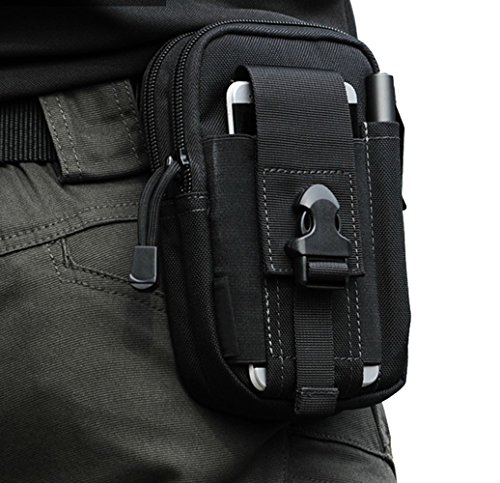 Funs Compact Tactical Waist Pack Utility Gadget Fanny Bag for iPhone 6 plus Belt Molle Pouch (Black)
