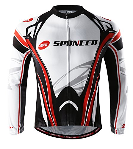 Winter Cycling Jersey - sponeed Bicycle Riding Jersey Winter Cycling Shirts Men Jacket Bike Tops Long sleeve Size L US Multi