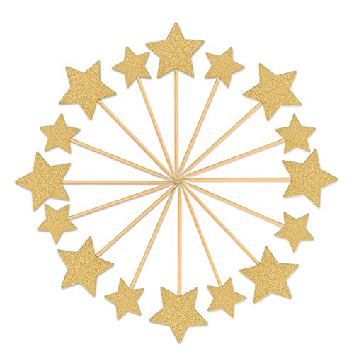 Star Cake Birthday (Star Cake Topper, LUTER 50 Pcs Gold Glitter Star Cupcake Toppers Picks Mini Twinkle Twinkle Little Star Party Decorations Birthday Cake Topper for Kids Women- Stickiness Improved)