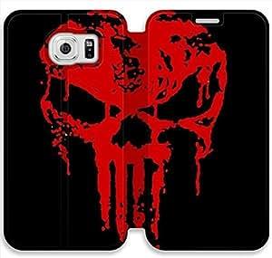 samsung galaxy S6 Flip Leather Phone Case Bloody The Punisher Skull Logo XZ1UI6424002