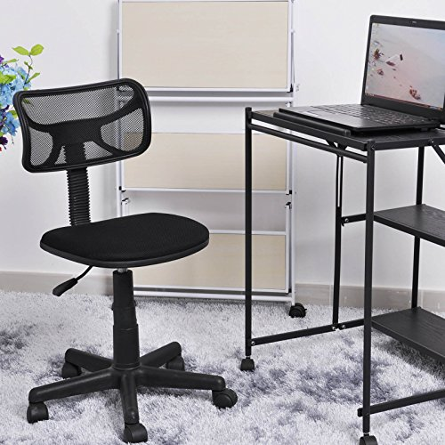 Coavas Adjustable Low-Back Mesh Office Chair Desk Chair for Students in Black