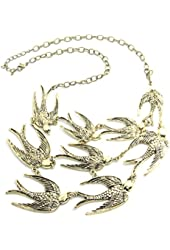 Swallows charms necklace choker bronze tone vintage jewelry art deco loverly