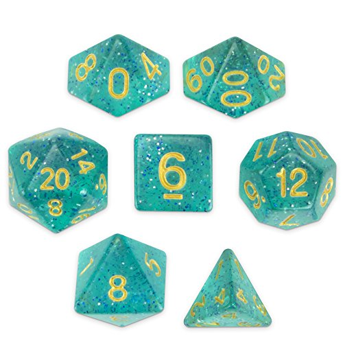 Display Dice (Wiz Dice Celestial Sea Set of 7 Polyhedral Dice, Translucent Turquoise Blue & Silver Glitter Tabletop RPG Dice with Clear Display Box)