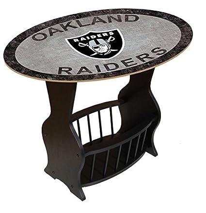 Genial Fan Creations N0818 OAK Oakland Raiders Distressed End Table