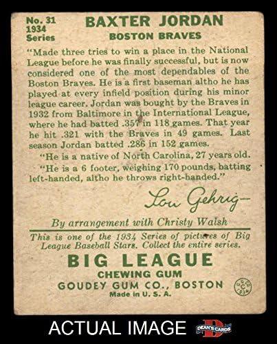 1934 Goudey # 31 Baxter Jordan Boston Braves (Baseball Card) Dean\'s Cards 3 - VG Braves 51G2Bq7vJhKL