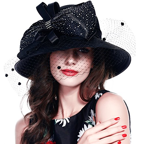 FORBUSITE Church Hats for Women Tea Party Dress Hat for Ladies Large Veil