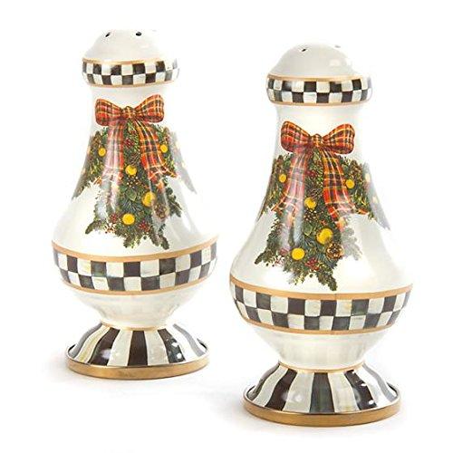 MacKenzie-Childs Evergreen Enamel Large Salt & Pepper Shakers, Brand New, 100% Authentic (Salt Evergreen)