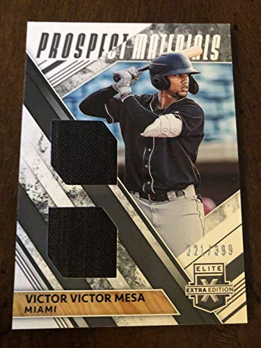 2019 Elite Extra Edition EEE Dual Prospect Materials Black #14 Victor Victor Mesa MEM SER399 Miami Marlins Official Collegiate Panini Baseball Card from Elite Extra Edition
