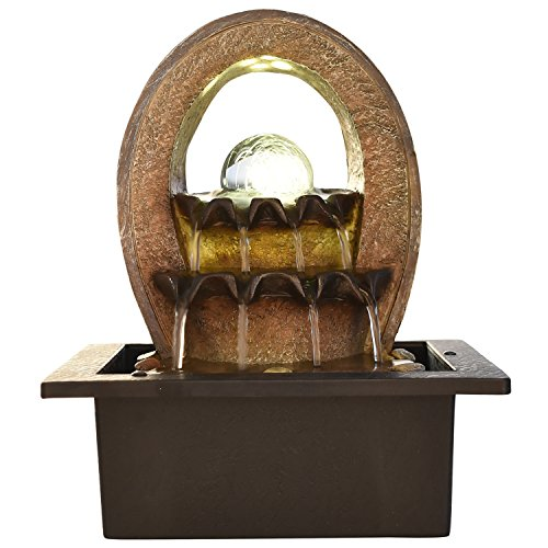 Kiara Polyston indoor/Outdoor natural looking LED light Ripple Water Fountain