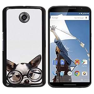 Design for Girls Plastic Cover Case FOR NEXUS 6 / X / Moto X Pro Chihuahua Glasses Dog Puppy Smart OBBA