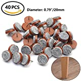Chair Leg Protectors for Wooden Floors 40pcs Round Heavy Duty Nail-on Anti-Sliding Felt Pad for Furniture Chair Table Leg Feet Floor Protectors (Brown, 20mm)