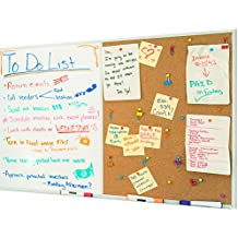 White Board and Cork Board Combo, 36 x 24 Magnetic Bulletin Board for Home or Office | 2 Dry Erase Markers, 1 Eraser, 4 Magnets & Box of Thumbtacks | Mounting Hardware Included