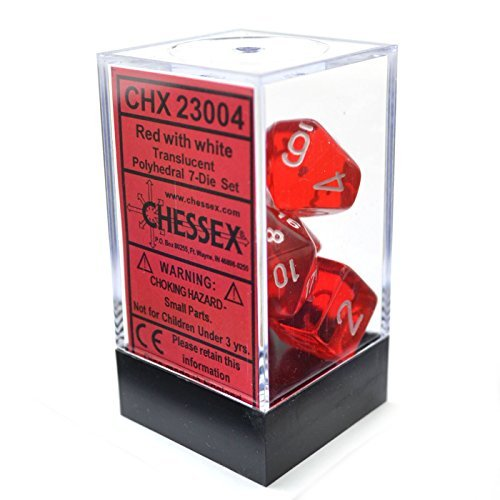 CHESSEX TRPG dice / dice Translucent Polyhedral (polyhedron) Red w / white 7 piece set (japan import)