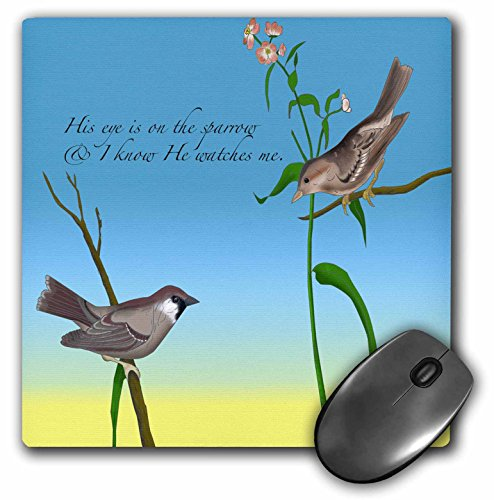 Price comparison product image 3dRose LLC 8 x 8 x 0.25 Inches Mouse Pad, His Eye Is On The Sparrow, Gospel Hymn Illustrated With Two Sparrows (mp_184179_1)