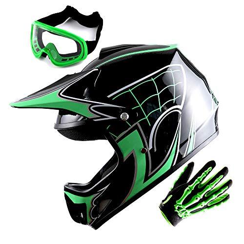 WOW Youth Motocross Helmet BMX MX ATV Dirt Bike Helmet Spider Green + Goggles + Skeleton Green Glove Bundle