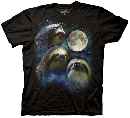 Ripple Junction Three Sloth Moon Shirt - 100% Cotton Adult T-Shirt Tee