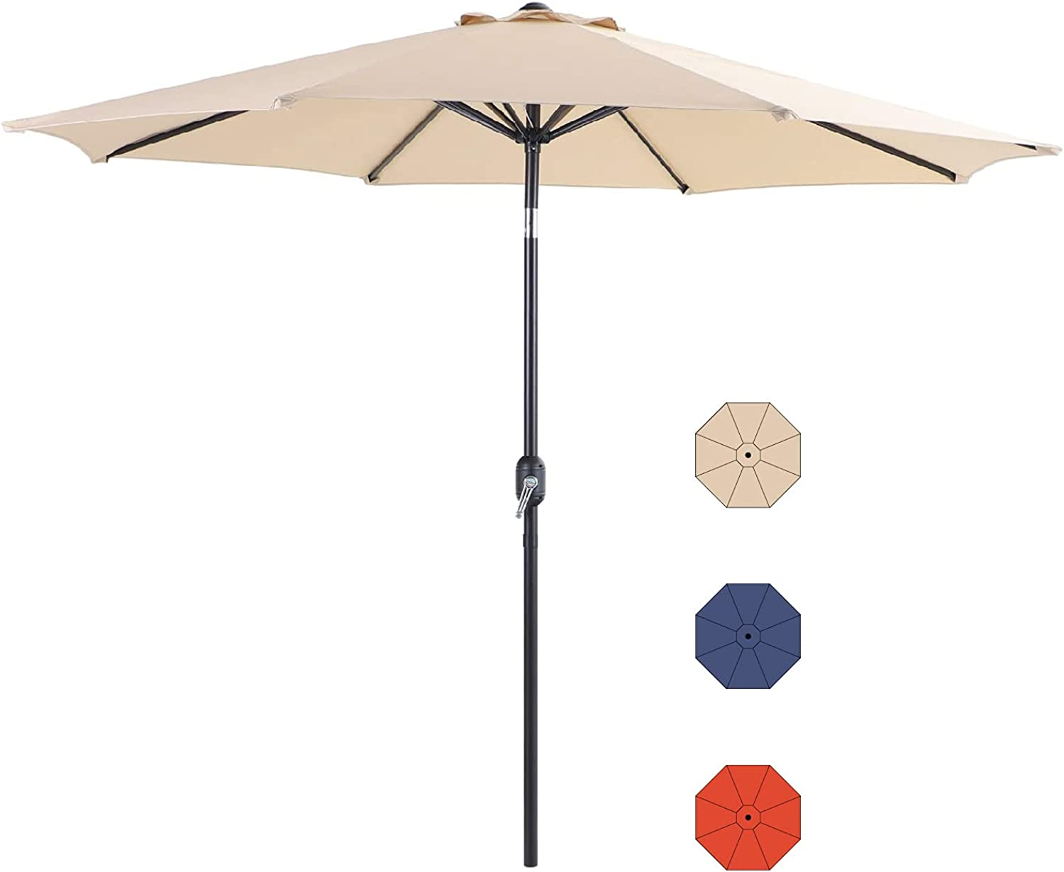 Green Party Patio Umbrella for Outdoor 10ft Outdoor Umbrella 8 Sturdy Ribs Market Patio Table Umbrella with Push Button Tilt Outdoor Patio Umbrella for Garden Lawn Deck Pool and Beach