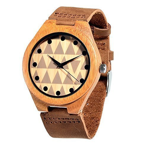 Affute Fashion Quartz Mens Wooden Watches Bamboo Wood Soft Leather Strap Unisex by Affute