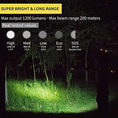 ZYD L50 Led Flashlight 1200 Lumen USB Rechargeable Torch 18650 Battery Lights Waterproof IP68 Portable Camp Lantern