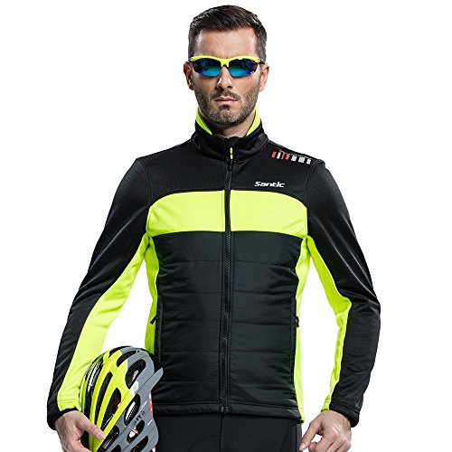 Santic Men's Cycling Jacket Winter Coat Windproof Thermal Long Jersey Green X-Large (US L)