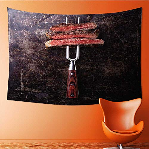 (Printsonne Customed Widened Tapestry Slices of Rare Beef Steak on Meat Fork on Dark Wall Hanging Tapestry 91W x 60L Inch)