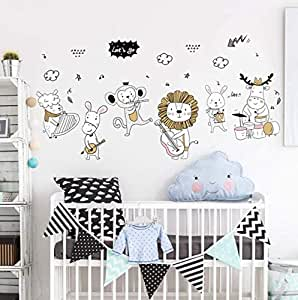 Animals Concert Wall Sticker Cute Monkey Cow music party Wall sticker For Kid Room -50X70cm