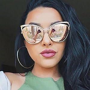 YABINA Sexy Cateye Women Sunglasses Oversized Metal Frame Flat Mirrored Lens (E)