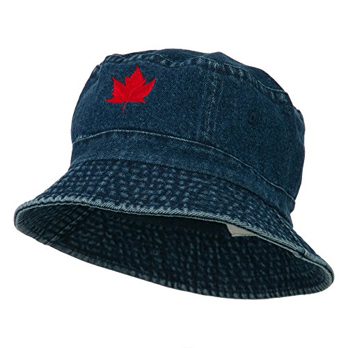 Canada Maple Leaf Embroidered Bucket Hat - Denim OSFM