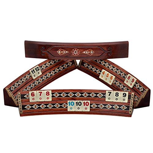 Oval Rummy Cube - Wooden Rummikub with Mosaic Details   Rosewood ()