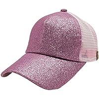 Messy High Bun Ponytail Adjustable Mesh Trucker sparkle Glitter Baseball Cap Hat (Hot pink)