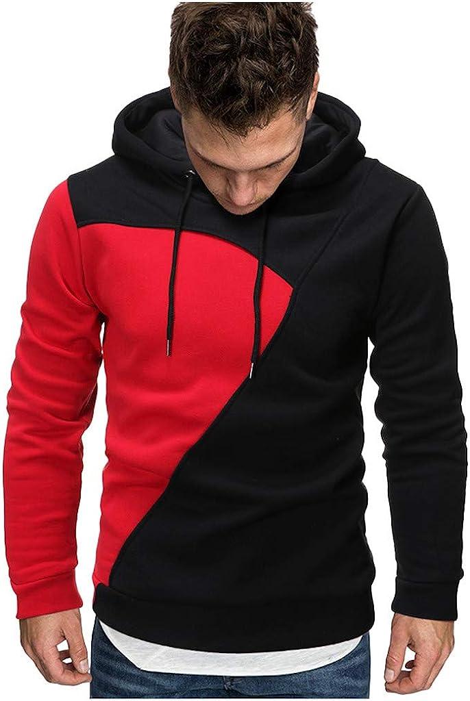 Mens Long Sleeve Splice Casual Drawstring Hoodies Pullover Autumn Winter Sport Outwear YFancy Slim Fit Hooded Sweatshirts