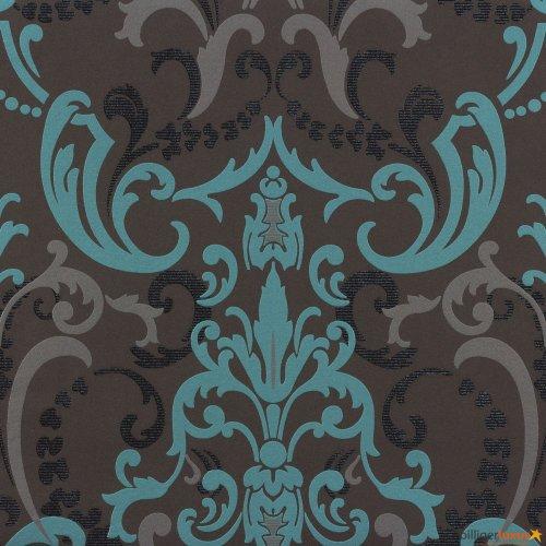 Tapete Rasch Bestseller Tapete Barock modern 714708 anthrazit türkis