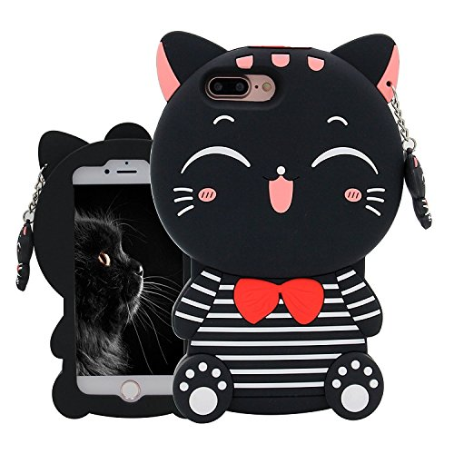 Case Character (Joyleop Black Lucky Cat Case iPhone 5 5C 5S SE 5G Cute 3D Cartoon Animal Cover,Kids Girls Cool Fun Soft Silicone Rubber Kawaii Character Unique Cases,Fashion Shockproof Skin Protector iPhone5)
