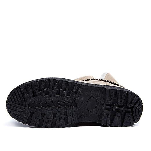 JiaMeng Botas de Cordones con Punta Redonda Moda Sólido cálido Invierno Nieve Plana Botas Cortas Zapatos de Punta Redonda Botas de Nieve Mujeres ...