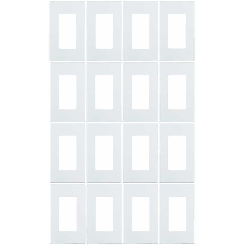 Leviton 80301-SW 1-Gang Decora Plus Wallplate Screwless Snap-On Mount (16 Pack, White)