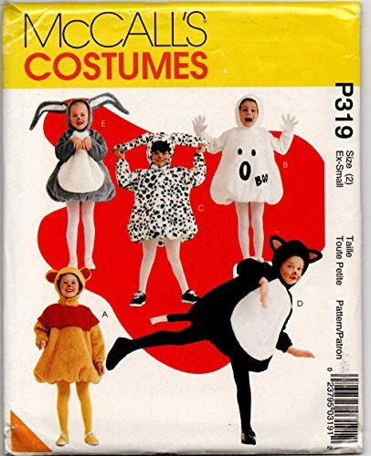 Toddler Pop Belly Costume Sewing Pattern McCalls MP319 or 8445 Size 2 Poo Bear, Bunny, Ghost, Cat, Dog -