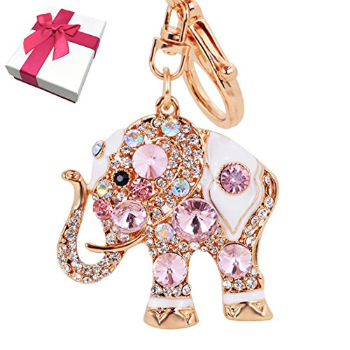 Elesa Miracle Girl Women Opal Rhinestone Elephant Keychain, Purse Bag Charm, Handbag Accessories, Car Key Chain (Pink)