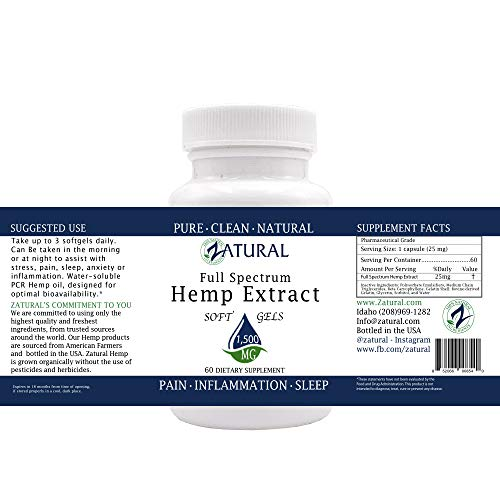 Hemp Extract Soft Gel 1,500mg: Premium Relief from Pain, Stress, Anxiety, and More_Natural Anti-Inflammatory_High in Omegas (60 Soft Gel (1,500mg)) by Zatural (Image #1)