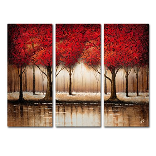 Parade of Red Trees Artwork by Rio (Set of 3), 14 x 32