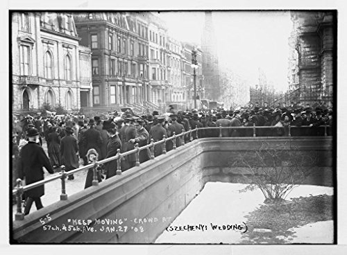 c. 1900-1920 13 x 19 Vintage Photo of:Szechnyi wedding - policeman directing crowd at 57th and 5th Ave. New - And 5th Ave 57th