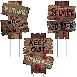 "UFUNGA Beware Signs Yard Stakes Halloween Decorations Outdoor Creepy Assorted Warning Sign,Scary Zombie Party Decor Supplies,3 Pieces, 12"" x 9"""
